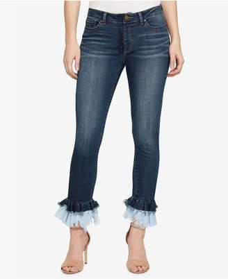 William Rast Contrast-Cuff Kick-Flare Skinny Jeans