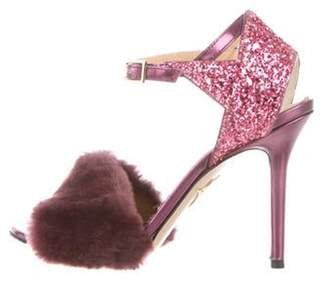 Charlotte Olympia Faux Fur-Trimmed Ankle Strap Sandals Purple Faux Fur-Trimmed Ankle Strap Sandals