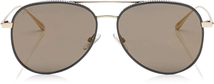 Jimmy Choo RETO Black Gold Copper Aviator Sunglasses with Micro Studs Detailing