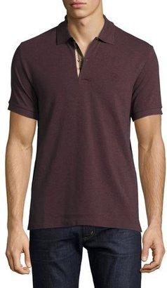 Burberry Short-Sleeve Oxford Polo Shirt, Elderberry Melange $175 thestylecure.com