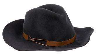 Eugenia Kim Leather-Trimmed Wide-Brim Hat
