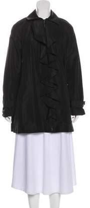 Ralph Lauren Black Label Ruffle-Accented Silk Jacket