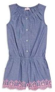 Design History Little Girl's Denim Eyelet Sleeveless Romper