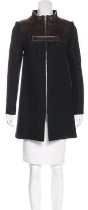 Chloé Leather-Trimmed Wool Coat