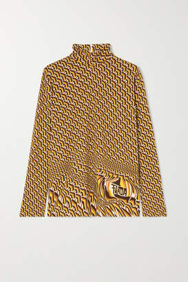 Prada Printed Stretch-jersey Turtleneck Top - Yellow