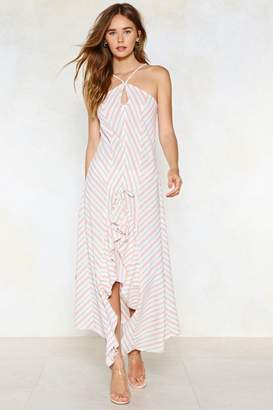 Nasty Gal Be Stripe Back Midi Dress