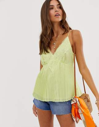 Asos Design DESIGN pleated cami with lace insert