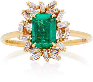 Suzanne Kalan One-of-a-Kind 18K Yellow Gold Emerald and Diamond Ring