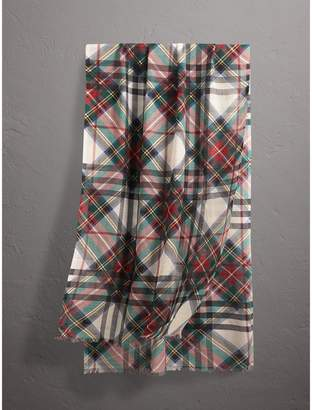 Burberry Tartan and Check Wool-silk Scarf