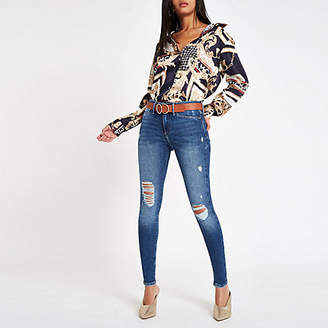 River Island Mid blue Molly ripped jeggings
