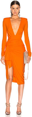 Alexandre Vauthier Jersey Ruched Mini Dress in Tangerine | FWRD