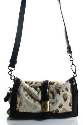Bottega VenetaBottega Veneta Beige Brown Animal Print Calf Hair Leather Trim Crossbody Handbag