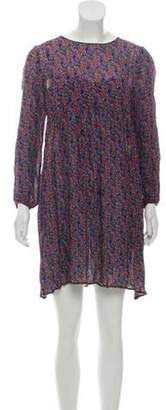 Band Of Outsiders Silk Floral Print Dress Purple Silk Floral Print Dress
