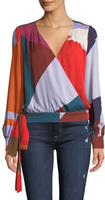 Tanya Taylor Klara Colorblock Long-Sleeve Top