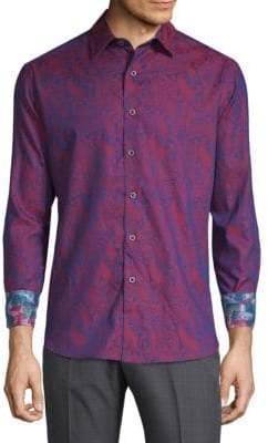 Robert Graham Cotton Scroll Print Shirt