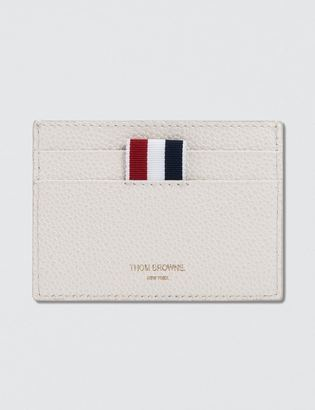 Thom Browne Pebble Grain and Calf Leather Single Card Holder with RWB Diagonal Stripe $490 thestylecure.com