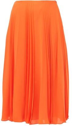 Valentino Pleated Silk Georgette Midi Skirt - Womens - Orange