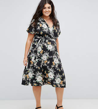 Yumi Plus Wrap Front Midi Dress In Floral Print