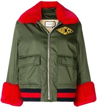Gucci logo patch bomber jacket