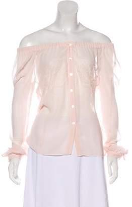 Nina Ricci Off-The-Shoulder Long Sleeve Blouse