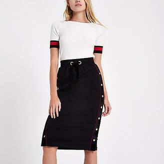 River Island Womens Black popper velvet side pencil skirt