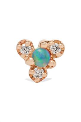 WWAKE Net Sustain Burst Gold, Opal And Diamond Earring