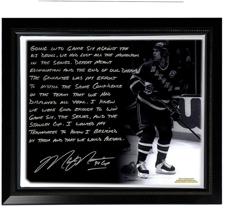 "Steiner Sports New York Rangers Mark Messier 1994 Stanley Cup Guarantee Facsimile 22"" x 26"" Framed Stretched Story Canvas"