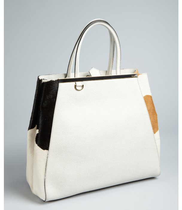 Fendi cream leather with calf hair '2Jours' shopper