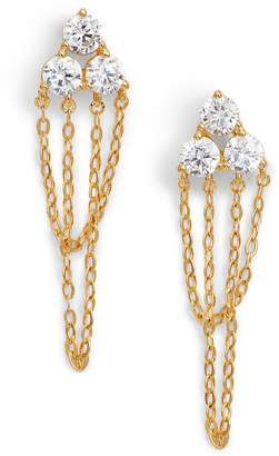 Nadri Chain Loop Cubic Zirconia Drop Earrings
