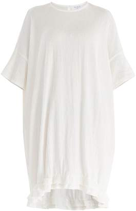 PAISIE - Relaxed Fit Cotton Dress with Ruffled Dip Hem in White