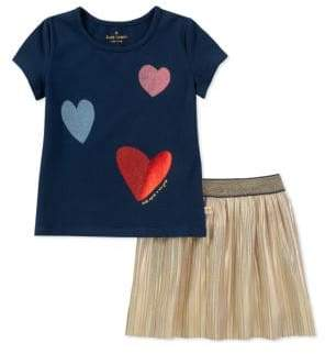 Kate Spade Baby Girl's Two-Piece Tossed Hearts Top and Pleated Skirt Set