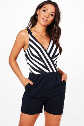 boohoo Striped Plunge Wrap Front Playsuit