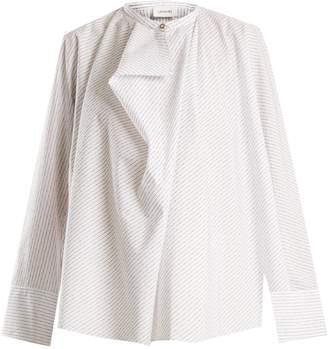Lemaire Asymmetric-striped cotton shirt