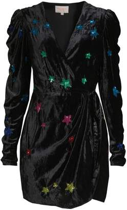Rococo Sand Velvet Sequin Star Faux Wrap Dress