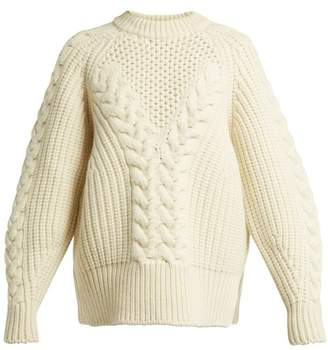 Alexander McQueen Aran Knit Wool Sweater - Womens - Ivory