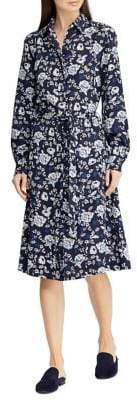 Lauren Ralph Lauren Printed Crepe Fit-&-Flare Shirtdress