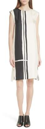 Theory Stripe Silk Twill Shift Dress