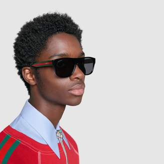 Gucci Rectangular-frame acetate sunglasses