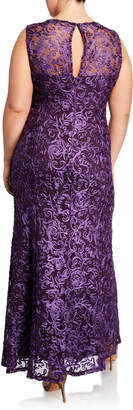Neiman Marcus Floral Embroidered Soutache A-Line Gown, Plus Size
