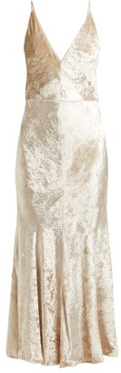 Gabriela Hearst Bridget Herringbone Velvet Slip Dress - Womens - Beige