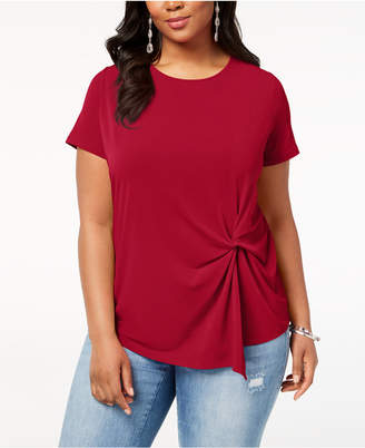 INC International Concepts I.n.c. Plus Size Twisted Asymmetrical Top