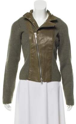 Emporio Armani Leather-Accented Wool Cardigan
