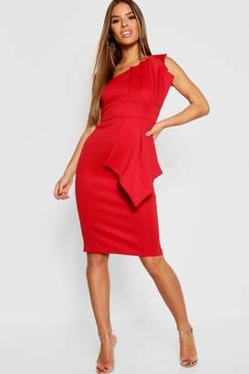 boohoo Petite One Shoulder Pleated Detail Midi Dress