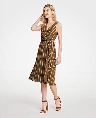 Ann Taylor Stripe Belted Wrap Dress