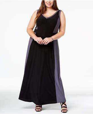 Love Squared Trendy Plus Size Contrast-Trim Maxi Dress