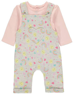 George Grey Rainbow Print Dungarees and Bodysuit Outfit