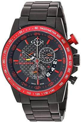 GV2 by Gevril Scuderia Mens Chronograph Swiss Quartz Alarm GMT Black Stainless Steel Sports Racing Watch