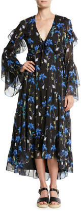 Borgo De Nor V-Neck Long-Sleeve Butterfly Iris Print High-Low Long Dress