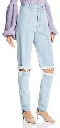 Ksenia Schnaider Cutout Straight Jeans in Light Blue