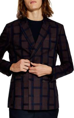 Topman Skinny Fit Double Breasted Check Blazer